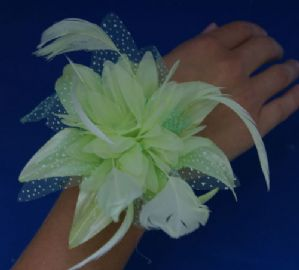 Pale Green Wrist Corsage - Hand Made Wrist Corsage | Masks and Tiaras